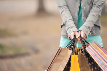 Concept of woman shopping