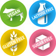 four icons Gluten, sugar, lactose free + vegan