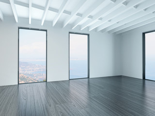 A 3D Rendering of empty white living room