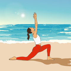 Girl in yoga's asana on the beach. Vector yoga illustration.