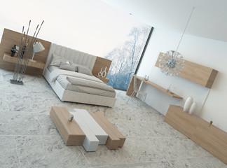 Modern bedroom with floor to ceiling windows