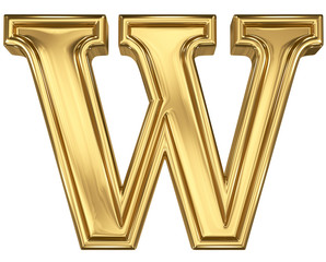 3d brushed golden letter - W. Isolated on white.