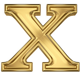 3d brushed golden letter - X. Isolated on white.