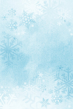 Textured winter snowflake background with room for copy space.
