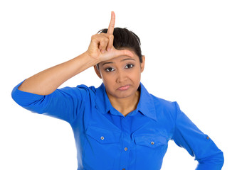Bully woman showing a looser sign