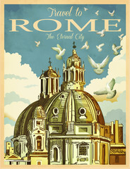 Travel to Rome Poster, Vintage