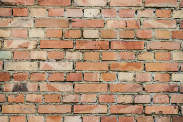 Red brick wall for the background image. Closeup.