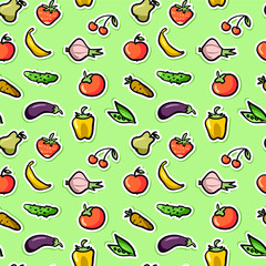 Seamless pattern with fruit and vegetables