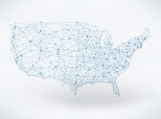 Wall Mural - Abstract telecommunication USA map