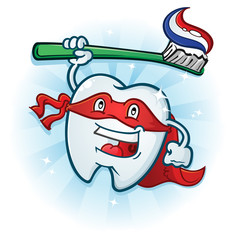 Dental Tooth Super Hero Mascot Cartoon Character with Toothbrush