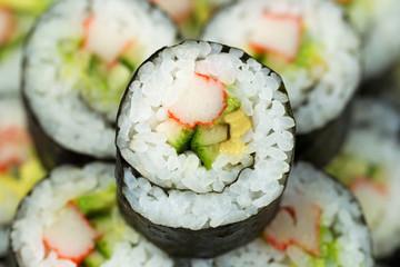 Macro Shot of California Sushi Roll