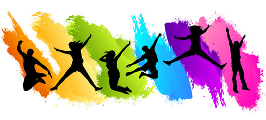 People jumping in color