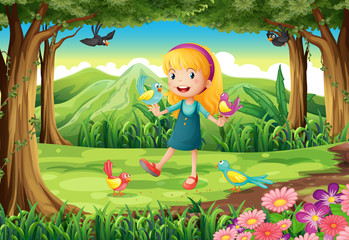 A young girl at the forest with birds