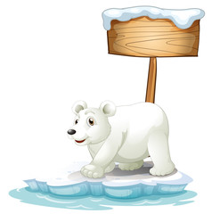 A white polar bear below the wooden signboard