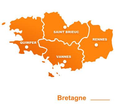 bretagne région départements et villes