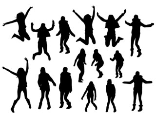 Jumping girl silhouettes