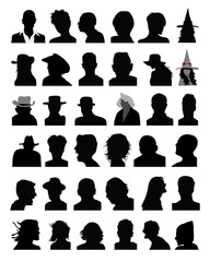 Set of black silhouettes of heads,vector
