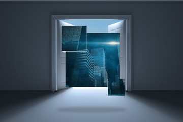Composite image of cityscape graphic on abstract screen