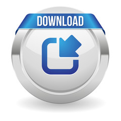 Round download button with blue ribbon