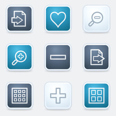 Image viewer web icon set 1, square buttons
