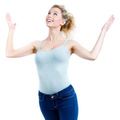 Happy woman celebrating something