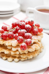 Belgian waffles with red currant, close-up