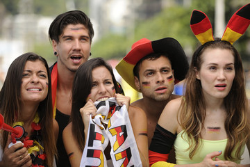 Happy group of astonish German sport soccer fans