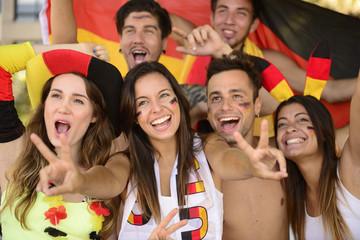 German sport soccer fans celebrating victory.
