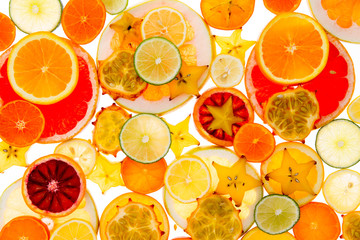 Healthy tropical fruit and citrus background