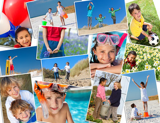Montage Active Happy Children Playing