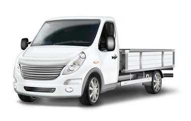 Pritschenwagen, Kleintransporter freigestellt, grau, weiss