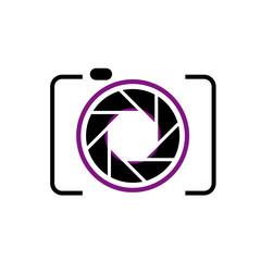 Photography logo- digital camera with purple aperture