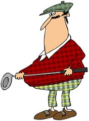 Golfer in a plaid outfit