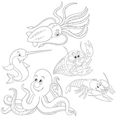 Octopus, crawfishes, narwhal and squid