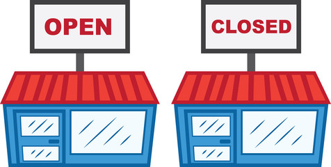 Store with open and closed sign