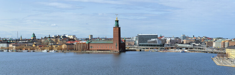 Panorama of Riddarfjarden bay with Stockholm City Hall, Sweden