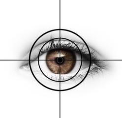 Braunes Auge mit Fadenkreuz