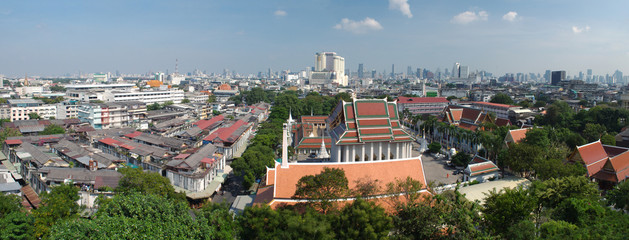 View of Bangkok and part of Wat Saket from Golden Mount