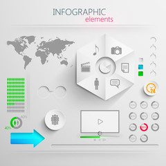 vector set of abstract 3d paper infographic elements for design