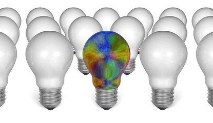 One multicolored iridescent light bulb among white ones