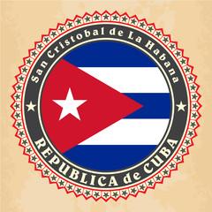 Vintage label cards of Cuba flag. Vector