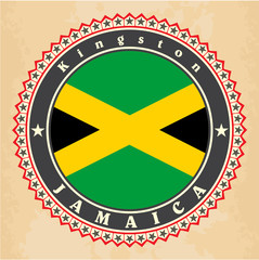 Vintage label cards of Jamaica flag. Vector