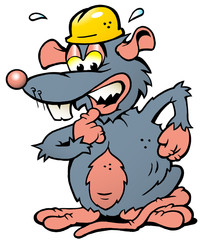 illustration of an scared Rat with yellow Helmet