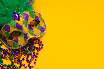 Poster Carnaval Colorful Mardi Gras or venetian mask on yellow
