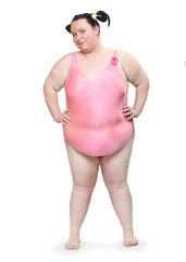 Overweight woman dressed in swimsuit.