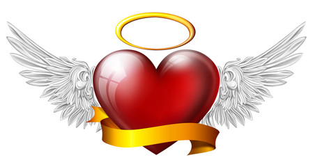 heart with angel wings with sash, isolated on white background