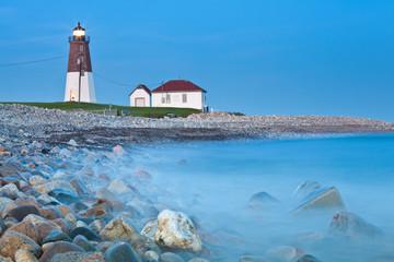 Point Judith lighthouse. Famous Rhode Island Lighthouse at dusk