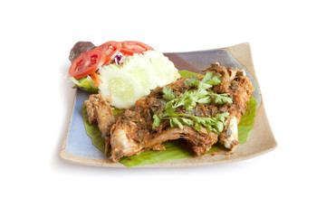 Steamed chicken with curry paste, Thai food.
