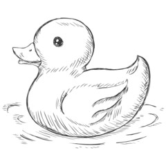 vector sketch illustration -  rubber duck for bath