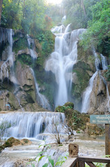 Fototapete - waterfall in forest in Luang Prabang, Lao